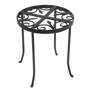 14 in. Tall Graphite Powder Coat Iron Round Trivet Plant Stand Indoor Outdoor