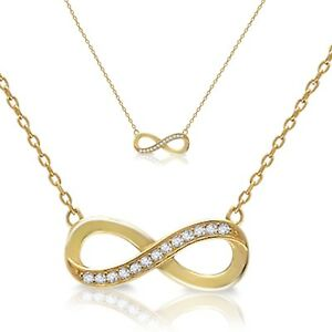 Yellow Gold Plated Clear Cubic Zirconia Infinity Silver Necklace