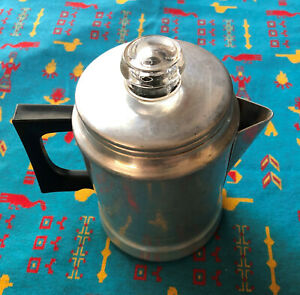 Vintage Comet Coffee Percolator Aluminum Camp/Stovetop Silver Made in USA