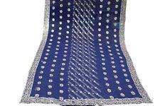 Vintage Dupatta Long Scarf Blue Color Embroided Work Veil Stole Hijab Art Craft
