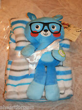 BLANKET & SECURITY PLUSH CAT W GLASSES BABY GEAR LOT OF 2 BLUE STRIPE TOY KITTY