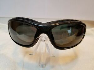 Sporty Goggle Wrap Style Gray Polarized Poly Lens Silver Mirror Sunglasses (NEW)
