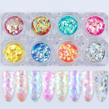 8 colors Mixed Mermaid Nail Art Sequins Glitter UV Gel Paillette Decoration Tips
