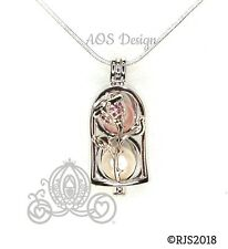 Enchanted Rose Pearl Cage Silver Plated Locket Beauty Beast Bell Jar Necklace
