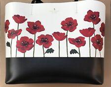 Kate Spade Ooh La La Poppies Poppy Flower Red Little Len Tote Bag Purse NWT