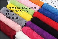 4,5m Spitze Polyester Spitzenband Lace elastisch13 Farben Spitzenbesatz 15cm 5yd