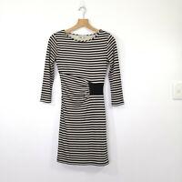 REISS 'Valentine' Dress Size XS Bodycon Striped Creamy Gold Black Stretch EUC