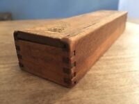 ANTIQUE PRIMITIVE DOVETAIL SLIDE TOP TINDER MATCH CANDLE BOX With 4 Match Packs