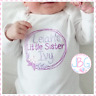 Personalised Girls Baby Vest Bodysuit ,Embroidered 'Little Sister' Design- Gift