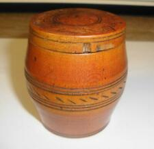 SUPERB RARE ANTIQUE LATE GEORGIAN EARLY VICTORIAN TURNED TREEN WOOD BARREL BOX.