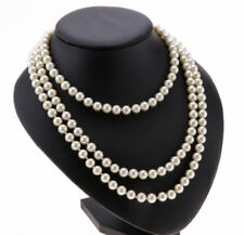 LONG FAUX PEARL ROPE STRING BEAD NECKLACE 150CM BEAD BEADED ROPE DROP WHITE