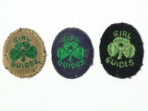 3 Different GIRL GUIDES Vintage Embroidered Cloth Badge Patches #G8