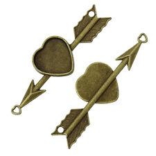 4 PCs Charm Arrow Through Heart Antique Bronze Cabochon Setting 7.4x2.3cm LC4794