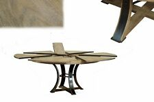 Transitional Gray Oak, Round Jupe Table with Self Storing Leaves Seats 4-8