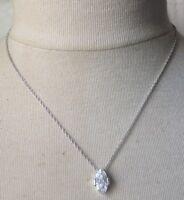collier chaine rétro couleur argent rhodié solitaire navette cristal diamant 609
