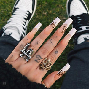 Butterfly French White Tips Press On Nails Extra Long Coffin Gothic False Nails