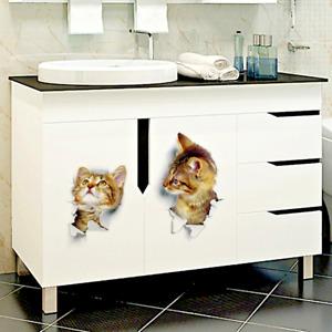 Vivid Baby Kid Room Bathroom Decors Peel Stick Toilet Sticker Various Cute Cat
