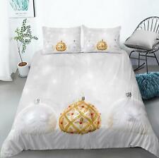 3D Goldener Kugel M824 Weihnachten Steppdecke Bettbezug Christmas Bett Fay