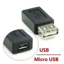 New Black USB 2.0 Type A Female to Micro USB B Female Adapter Plug Converters UK