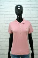 Polo Donna RALPH LAUREN Taglia M Maglia Manica Corta shirt Jersey Rosa Elastica