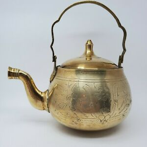 Vintage Brass Teapot Made in India Ornate Etched Floral Engraved Heavy Beautiful