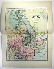 Original 1895 Map of Egypt Abyssinia & Ne Africa by W & A.K. Johnston