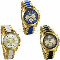 Luxury Mens Gold Tone Stainless Steel Band Analog Quartz Wrist Watch Gift