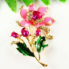 Carved Tibetan Gold Drops Of Oil Rhinestone Flower Pendant Brooch S50252