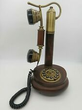 SITEL Retro French Gallow Candlestick Telephone Push Button Dial Wood Italy