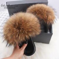 100% Real Fox Fur Slippers Womens Plus Raccoon Fur Casual Slides Flat Shoes