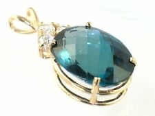 London Blue Topaz, 14KY Gold Pendant, , P016