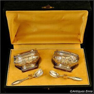 Bezon French Sterling Silver 18k Gold Salt Cellars Pair, Spoons, Original Box