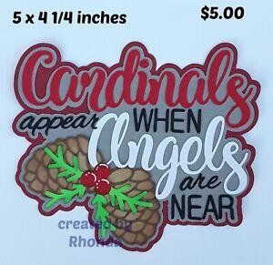 CARDINALS APPEAR TITLE Christmas scrapbook paper piecing 3D die cut by Rhonda