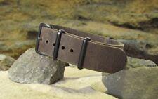 The Ballistic Leather Strap w/ PVD Hardware By NATO Strap Co.(℠)