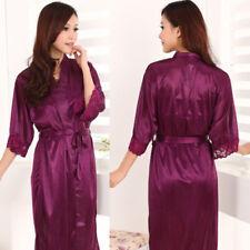 Sexy Womens Silk Satin Deep V Bathrobe Nightgowns Robes Pajamas SPA Sleepwear