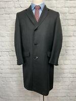 ROCKHAM Men's Charcoal Black Wool Overcoat Size 42S