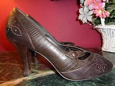 "NATURALIZER BROWN LEATHER MARY JANES 9.5M ""BOYER"" 3.5"" PEEP TOE GOOD"