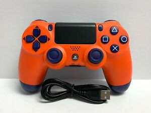 Sunset Orange Dualshock Wireless PS4 Controller for Playstation 4 + USB Cable