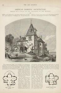 Hudson River New York American Domestic Architecture RARE 1874 Antique Art Print