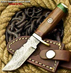Custom HandMade Damascus Steel Blade Hunting Miniature Knife | Walnut Wood