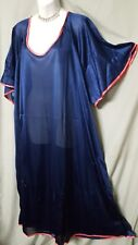 """ABOVE ANKLE SEXY & COMFY NAVY  W/CORAL TRIM NIGHTGOWN  SIZE 4X GIFT 74"""" BUST"""