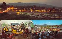 NY Lake George GASLIGHT VILLAGE @ Night lights 1959-64 MINT postcard AM1