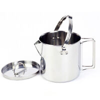 Outdoor Camping 1.2L Pot Hanging Cookware Kettle Stainless Steel W/ Handle Lid