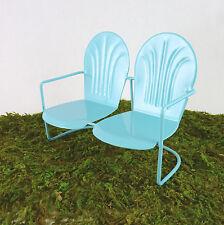 Closeout!Dollhouse Miniature Fairy Garden Retro Metal Lawn Bench, BLUE