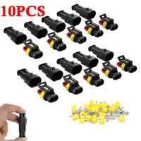 10 Sets Car 2Pin Way Sealed Waterproof Electrical Wire Harness Connector Plug US