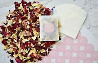 Biodegradable Confetti Natural Dried Flower Petals 20 Packets & Pink Stickers