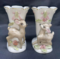 Two (2) Vintage 1940's Ceramic Deer Fawn Bud Vase made in USA Signed I. Weller