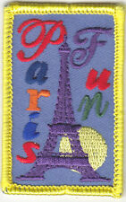 """""""PARIS FUN"""" PATCH- Iron On Embroidered Applique/Eiffel Tower, France,Vacation"""