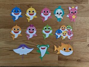 Baby Shark Printed Party Celebration Cupcake Toppers / Card Decoration / Crafts