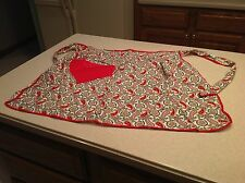 Vintage Ladies Handmade Apron Paisley Print W/ Red Trim and Pocket Cute